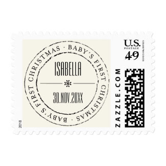 Baby First Christmas Circle Seal Holiday Stamps