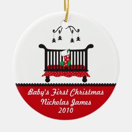 Baby First Christmas - Crib and Christmas Stocking Ceramic Ornament
