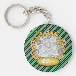 Baby First Christmas Green Black Stripes Basic Round Button Keychain