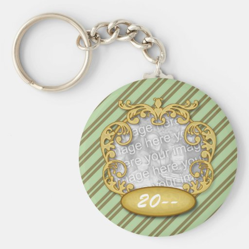 Baby First Christmas Green Brown Stripes Keychain
