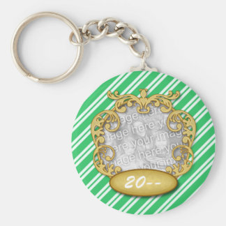 Baby First Christmas Green Candy Cane Stripes Basic Round Button Keychain