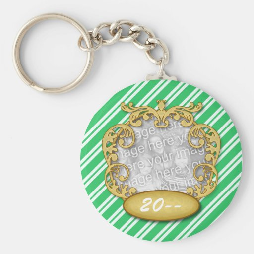 Baby First Christmas Green Candy Cane Stripes Keychain