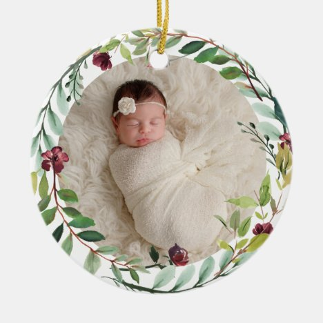 Baby First Christmas Green Holiday Wreath Photo Ceramic Ornament