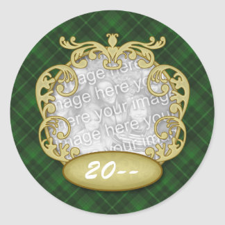 Baby First Christmas Green Plaid Classic Round Sticker