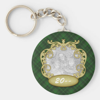 Baby First Christmas Green Plaid Keychain