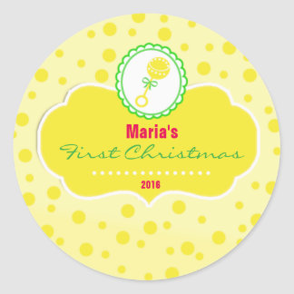 Baby First Christmas Holiday Sticker Gift Label