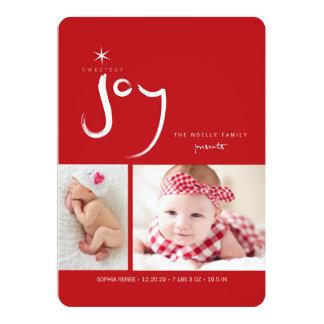 Baby First Christmas Joy Girl Birth Announcement