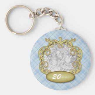 Baby First Christmas Light Blue Plaid Basic Round Button Keychain