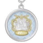 Baby First Christmas Light Blue Plaid Round Pendant Necklace