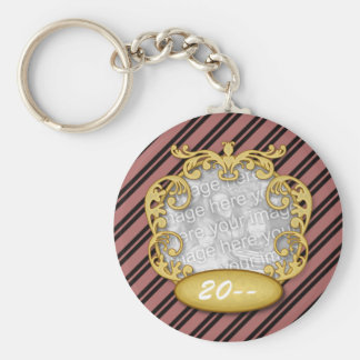 Baby First Christmas Maroon Black Stripes Basic Round Button Keychain