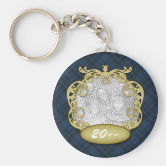 Baby First Christmas Navy Blue Plaid Basic Round Button Keychain