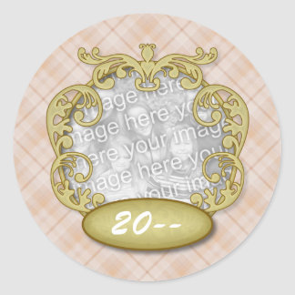 Baby First Christmas Orange Plaid Classic Round Sticker