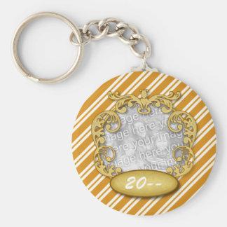 Baby First Christmas Orange White Stripes Basic Round Button Keychain