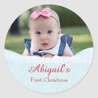 Baby First Christmas Personalized Classic Round Sticker