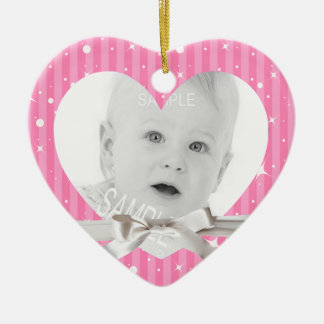 Baby First Christmas Photo in Pink Heart Shape Ceramic Ornament