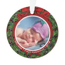 Baby First Christmas Photo name holly wreath Ornament