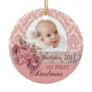 Christmas Themed Baby First Christmas Photo Ornament Personalized
