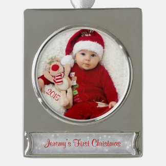 Baby First Christmas Photo Template Silver Plated Banner Ornament