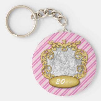 Baby First Christmas Pink Candy Cane Stripes Basic Round Button Keychain