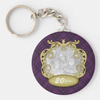 Baby First Christmas Purple Plaid Basic Round Button Keychain
