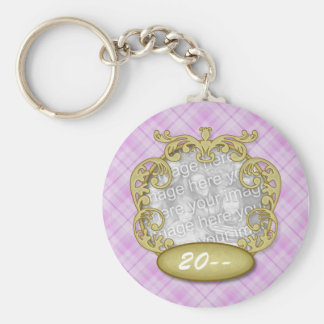 Baby First Christmas Purple Plaid Keychain