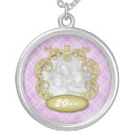 Baby First Christmas Purple Plaid Round Pendant Necklace