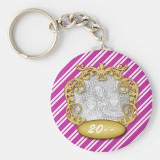 Baby First Christmas Purple White Stripes Basic Round Button Keychain