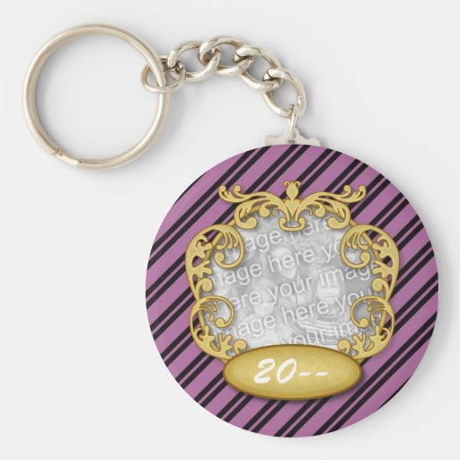 Baby First Christmas Purple White Stripes Keychains