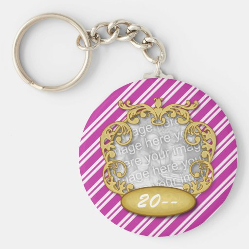 Baby First Christmas Purple White Stripes Key Chains