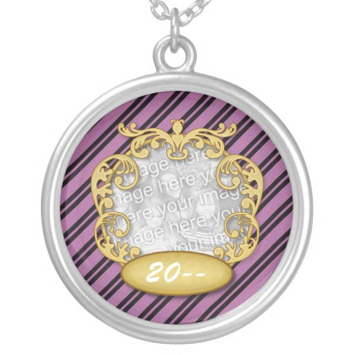 Baby First Christmas Purple White Stripes Round Pendant Necklace