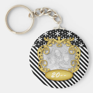 Baby First Christmas Snowflake Stripe Black White Keychain