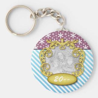 Baby' First Christmas Snowflake Stripe Blue Purple Basic Round Button Keychain