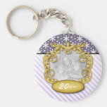 Baby First Christmas Snowflake Stripe Purples Basic Round Button Keychain
