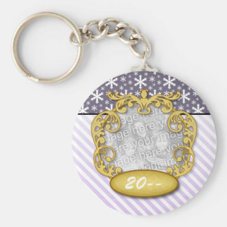 Baby First Christmas Snowflake Stripe Purples Basic Round Button Keychain