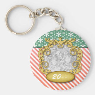 Baby First Christmas Snowflake Stripe Red Green Basic Round Button Keychain