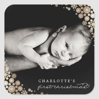 Baby First Christmas Snowflakes Photo Sticker