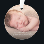 "Baby First Christmas Snowflakes Stylish Chic Photo Ornament<br><div class=""desc"">Baby's First Christmas Whimsical Classic Calligraphy,  Elegant And Stylish White Snowflakes Photo Ornament.  Designed by fat*fa*tin. Easy to customize with your own text,  photo or image. For custom requests,  please contact fat*fa*tin directly. Custom charges apply.  www.zazzle.com/fat_fa_tin www.zazzle.com/color_therapy www.zazzle.com/fatfatin_blue_knot www.zazzle.com/fatfatin_red_knot www.zazzle.com/fatfatin_mini_me www.zazzle.com/fatfatin_box www.zazzle.com/fatfatin_design www.zazzle.com/fatfatin_ink</div>"