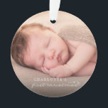 """Baby First Christmas Snowflakes Stylish Chic Photo Ornament<br><div class=""""desc"""">Baby's First Christmas Whimsical Classic Calligraphy,  Elegant And Stylish White Snowflakes Photo Ornament.  Designed by fat*fa*tin. Easy to customize with your own text,  photo or image. For custom requests,  please contact fat*fa*tin directly. Custom charges apply.  www.zazzle.com/fat_fa_tin www.zazzle.com/color_therapy www.zazzle.com/fatfatin_blue_knot www.zazzle.com/fatfatin_red_knot www.zazzle.com/fatfatin_mini_me www.zazzle.com/fatfatin_box www.zazzle.com/fatfatin_design www.zazzle.com/fatfatin_ink</div>"""