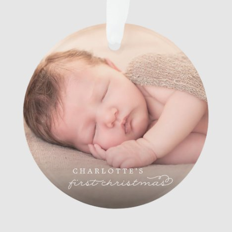 Baby First Christmas Snowflakes Stylish Chic Photo Ornament