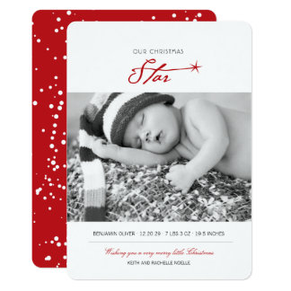 Baby First Christmas Star Birth Announcement Card