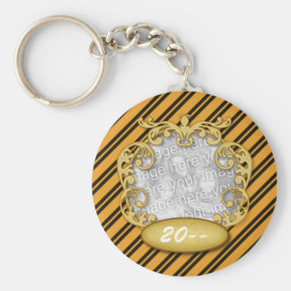 Baby First Christmas Tiger Stripes Basic Round Button Keychain
