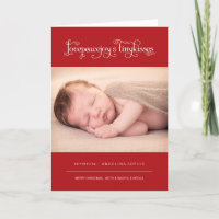Baby First Christmas Tiny Kiss Birth Announcement