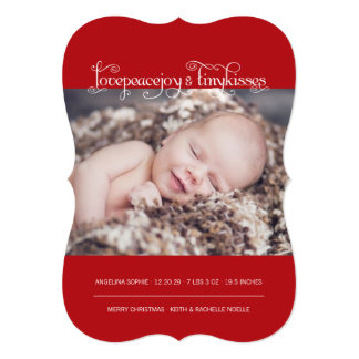 Baby First Christmas Tiny Kiss Birth Announcement Invitation