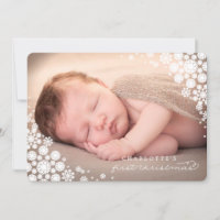 Baby First Christmas Winter Snowflakes Photo Birth Holiday Card