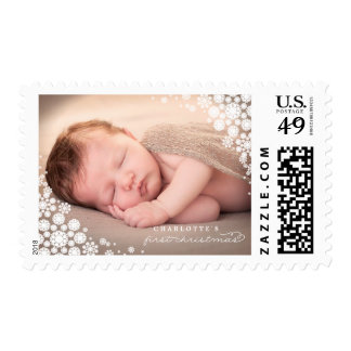 Baby First Christmas Winter Snowflakes Photo Stamp