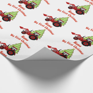 Baby FIRST Christmas WRAPPING RED TRACTOR Custom Wrapping Paper