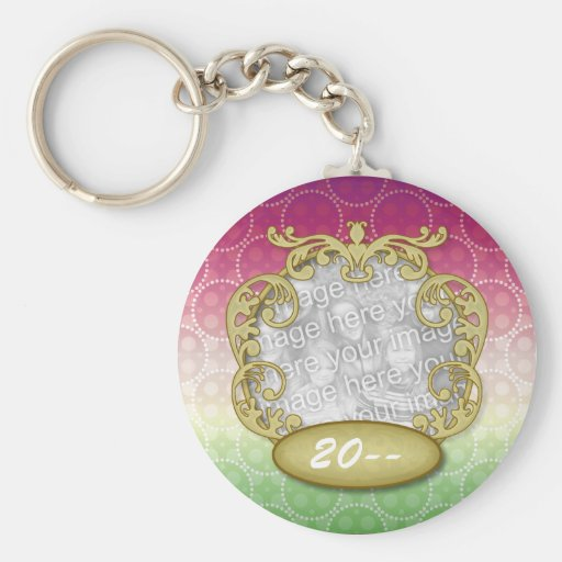 Baby First Chritmas Red Green Yellow Dots Key Chains