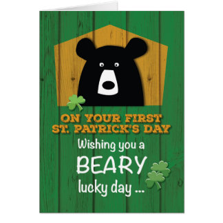Baby First St. Patrick's Day with Bear & Shamrocks Card