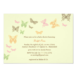 Baby Flutters Shower Invitation yellow