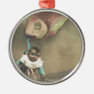 Baby Flying Fish Poisson d'avril April Fool's Day Round Metal Christmas Ornament